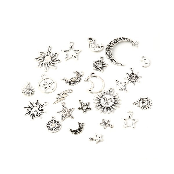 S110115807 PAX 23 pendentifs breloque MIXTE Lune, soleil, étoile métal couleur Argent Antique - Photo n°1