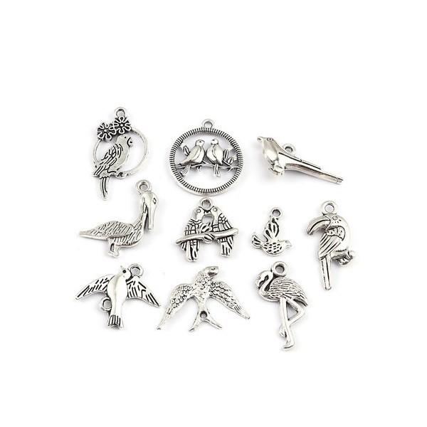 S110207649 PAX 10 Pendentifs Oiseaux Mixte métal couleur Argent Antique - Photo n°1