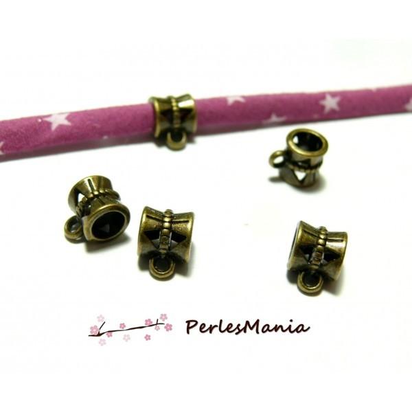 P30047 PAX 40 pendentifs magnifiques bélières tambour metal couleur Bronze - Photo n°1