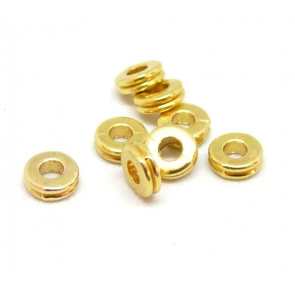 PS110080027 PAX 50 perles intercalaires Rondelles 6mm metal couleur Doré - Photo n°1