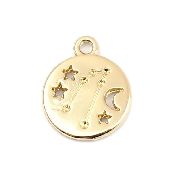 PS11652695 PAX 5 pendentifs médaillon Signe du Zodiaque Balance Constellations métal coloris Doré - Photo n°1