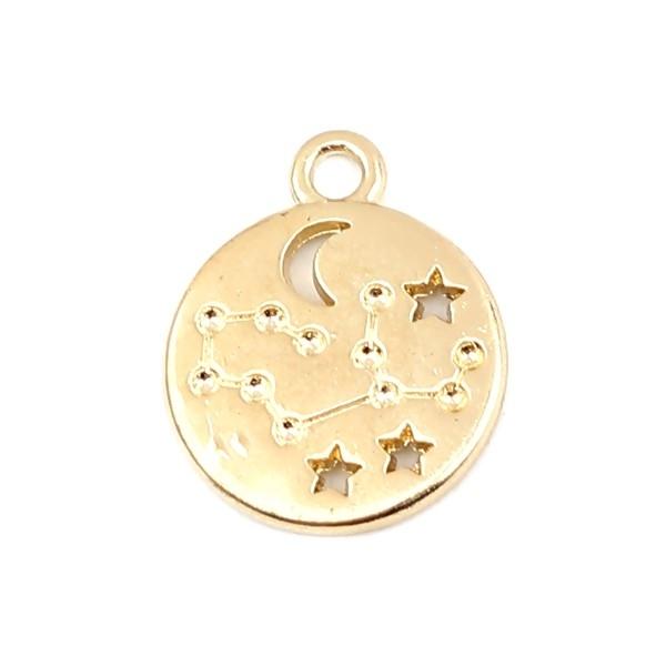 PS11652700 PAX 5 pendentifs médaillon Signe du Zodiaque Lion Constellations métal coloris Doré - Photo n°1