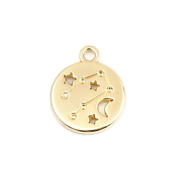 PS11652696 PAX 5 pendentifs médaillon Signe du Zodiaque Bélier Constellations métal coloris Doré - Photo n°1