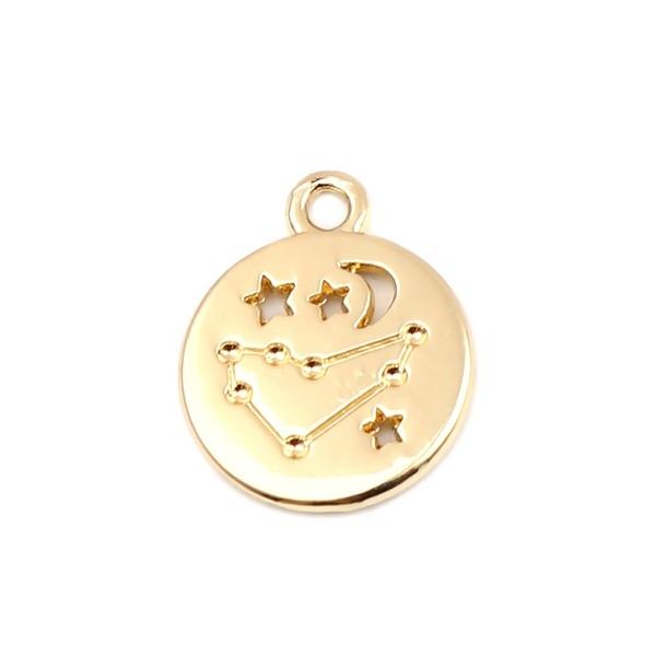PS11652705 PAX 5 pendentifs médaillon Signe du Zodiaque Capricorne Constellations métal coloris Dor - Photo n°1