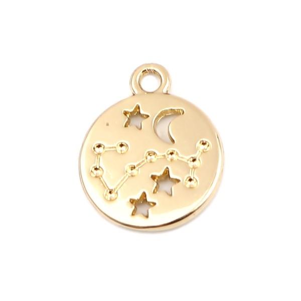 PS11652704 PAX 5 pendentifs médaillon Signe du Zodiaque Scorpion Constellations métal coloris Doré - Photo n°1