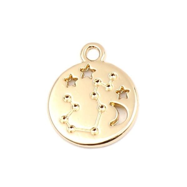 PS11652701 PAX 5 pendentifs médaillon Signe du Zodiaque Vierge Constellations métal coloris Doré - Photo n°1