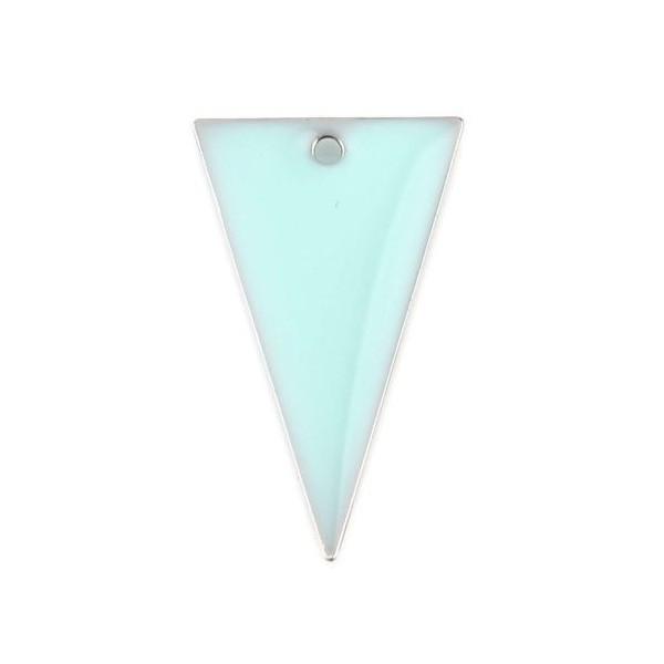 PS11667949 PAX 5 sequins résine style émaillés Triangle Bleu Clair 22 par 13mm sur une base en méta - Photo n°1