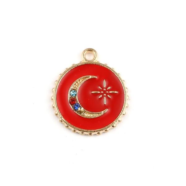 PS11682219 PAX 5 Pendentifs émaillés Rouge Cercle et Lune avec strass multicolores 16mm - Photo n°1