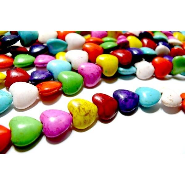 H1111704 Lot 1 fil d'environ 45 perles Coeurs 10mm Howlite, Turquoise reconstituées Multicolores - Photo n°1