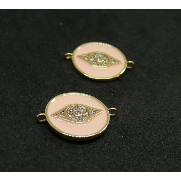 AE004 PAX 1 connecteur Rond Oeil de la protection Rhinestone 14 par 18mm cuivre doré emaillé Rose - Photo n°1