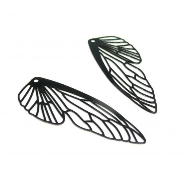 AE116164 Lot de 2 Estampes pendentif filigrane Aile d' insecte 51mm Noir - Photo n°1