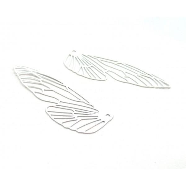 AE116164 Lot de 2 Estampes pendentif filigrane Aile d' insecte 51mm Blanc - Photo n°1