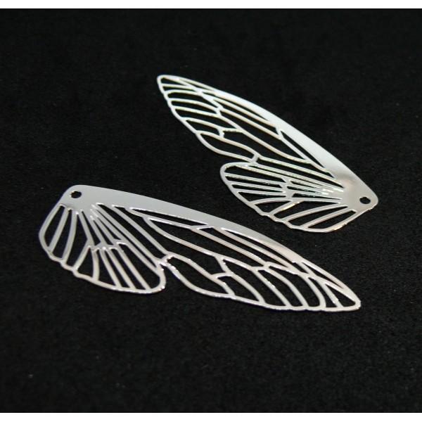 AE116164 Lot de 2 Estampes pendentif filigrane Aile d' insecte 51mm Argent Vif - Photo n°1