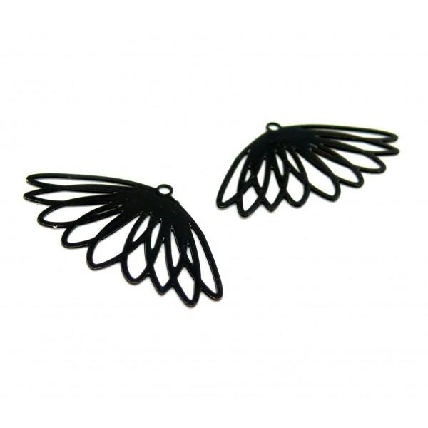AE1111636 Lot de 4 Estampes pendentif filigrane Fleur 17 par 30mm cuivre coloris Noir - Photo n°1