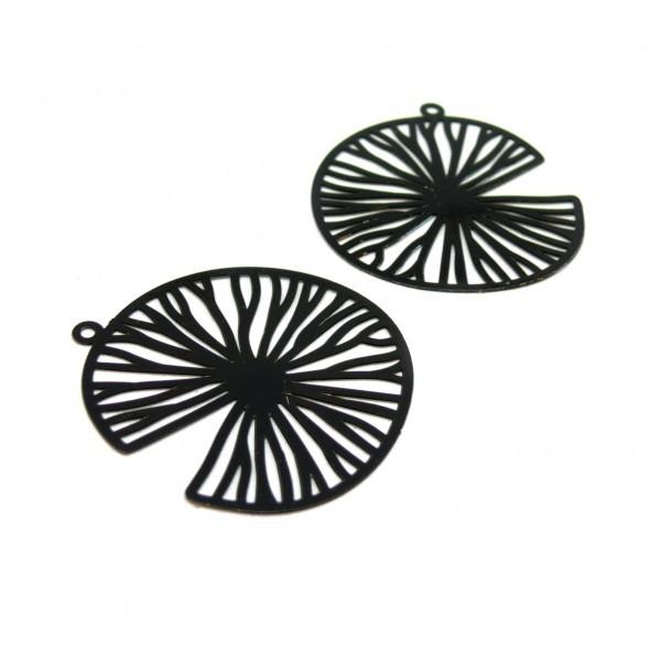 AE116596 Lot de 2 Estampes pendentif filigrane Tranche de fruit 35 par 38mm cuivre coloris Noir - Photo n°1