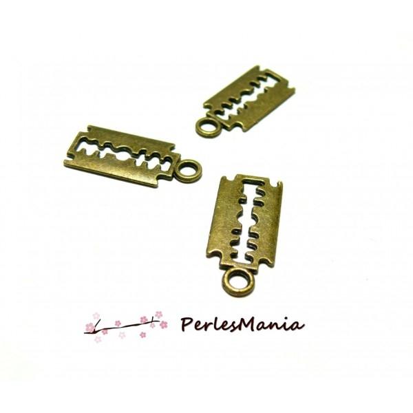 Lot de 20 pendentifs breloque LAME DE RASOIR 25mm metal couleur BRONZE H117995 - Photo n°1