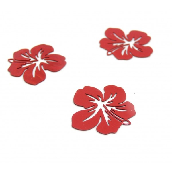 AE11556 Lot de 4 Estampes pendentif filigrane Fleur d' Hibiscus 20 mm Rouge - Photo n°1