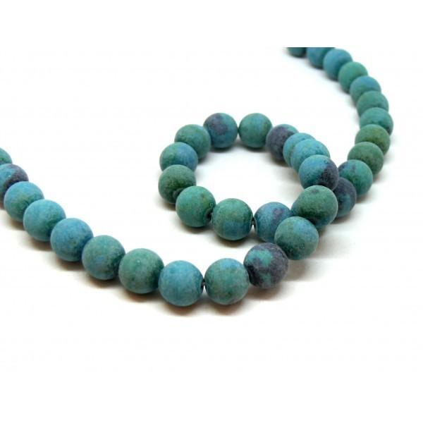 HT106193 Lot 1 fil d'environ 60 Perles rondes teintée Chrysocolle effet Givre 6 mm pour création de - Photo n°1