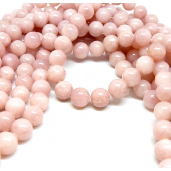 H10XS22Bis Lot 1 fil d'environ 40 perles Jade Mashan Rose pale 10mm - Photo n°1