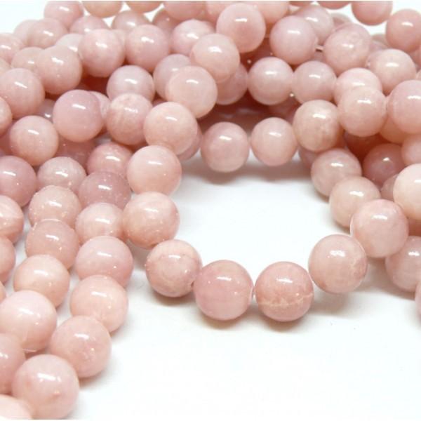 H6XS22Bis Lot 1 fil d'environ 69 perles Jade Mashan Rose Pale 6mm - Photo n°1