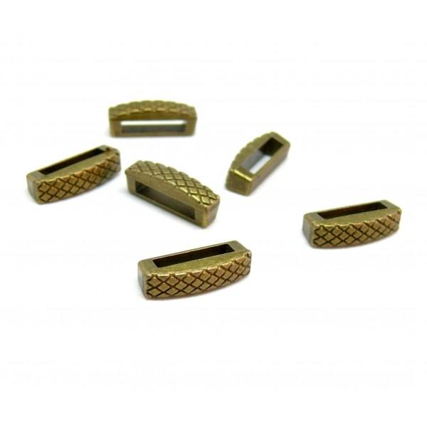 H116433AB PAX de 20 pendentifs perles intercalaires slide rectangle strié métal coloris Bronze - Photo n°1