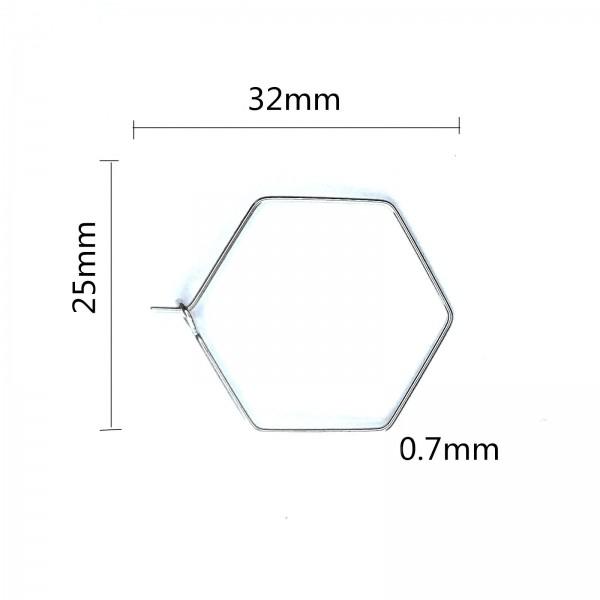 BU11201113112220 PAX 10 Boucles d'oreille Créoles Tige HEXAGONE 32 par 25 mm ACIER INOXYDABLE color - Photo n°1
