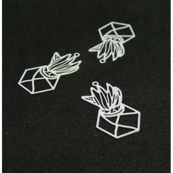 AE11494 Lot de 4 Estampes pendentif filigrane Aloe en Pot Graphique 13 par 23mm Coloris Blanc - Photo n°1