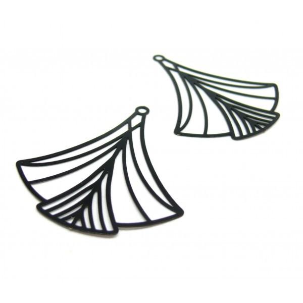 AE116597 Lot de 2 Estampes pendentif filigrane Art Déco 40 par 45mm Coloris Noir - Photo n°1