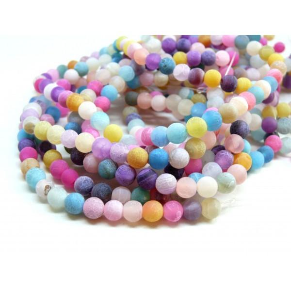 P09805B Lot 1 fil d' environ 48 perles rondes 8mm Agate craquelé effet givre multicolore coloris 08 - Photo n°1