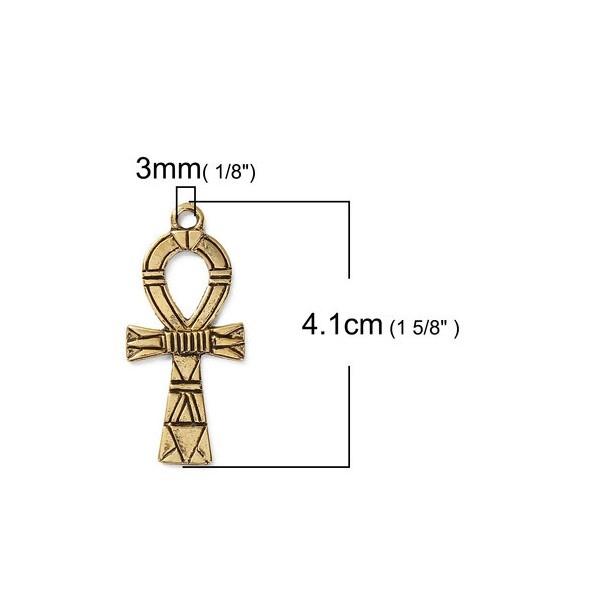 PS110086299 PAX 5 pendentifs Croix Egyptienne Ankh 41mm Metal couleur Or Antique - Photo n°1