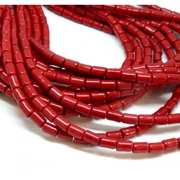 HG12046 Lot 1 fil d'environ 64 tubes turquoise reconstituées 4 par 6mm Rouge Coloris 07 - Photo n°1