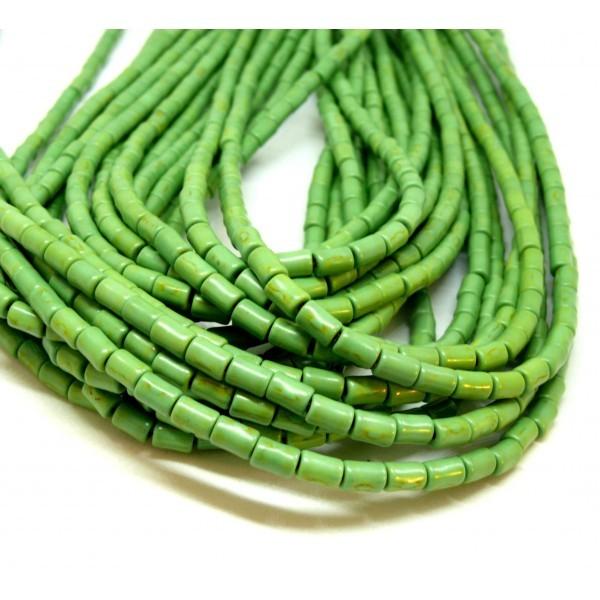 HG12046 Lot 1 fil d'environ 64 tubes turquoise reconstituées 4 par 6mm Vert Coloris 08 - Photo n°1