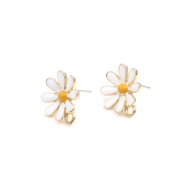 PS110252744 PAX 2 Boucles d'oreille clou puce avec attache Grande Fleur émaillée Blanche métal coul - Photo n°1