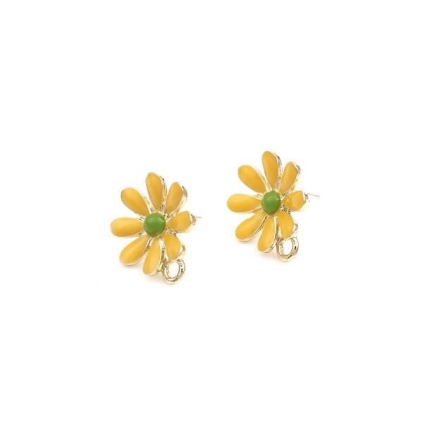 PS110252746 PAX 2 Boucles d'oreille clou puce avec attache Grande Fleur émaillée Jaune métal couleu - Photo n°1