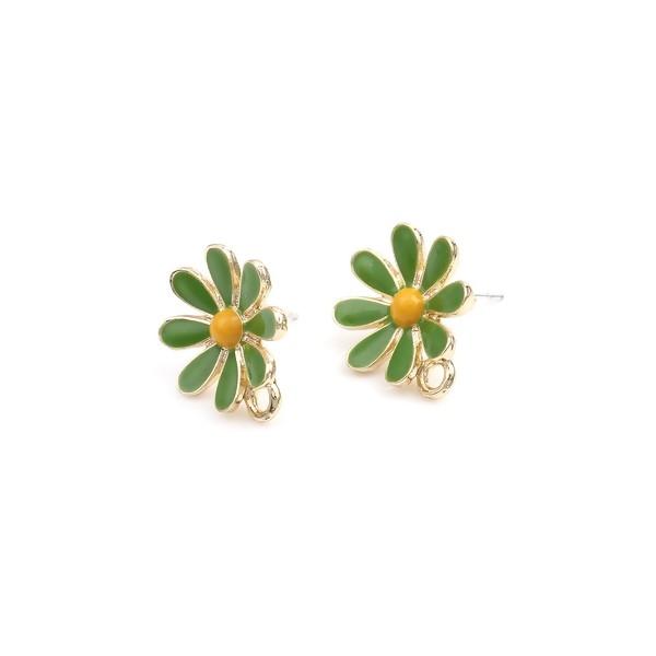 PS110252745 PAX 2 Boucles d'oreille clou puce avec attache Grande Fleur émaillée Vert métal couleur - Photo n°1