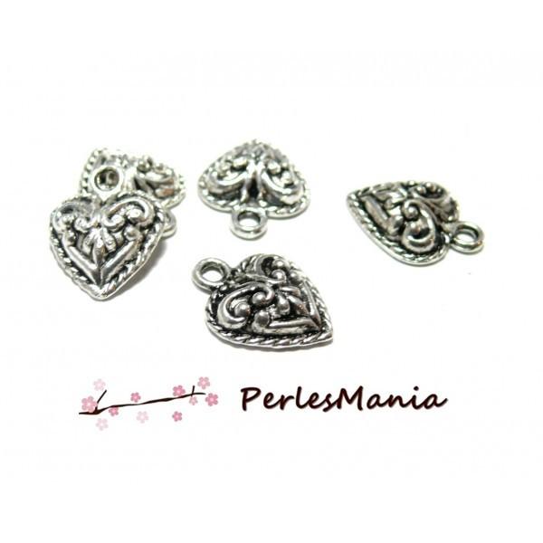 10 pendentifs petit Coeur travaillé Ref 86 VIEIL ARGENT, DIY - Photo n°1