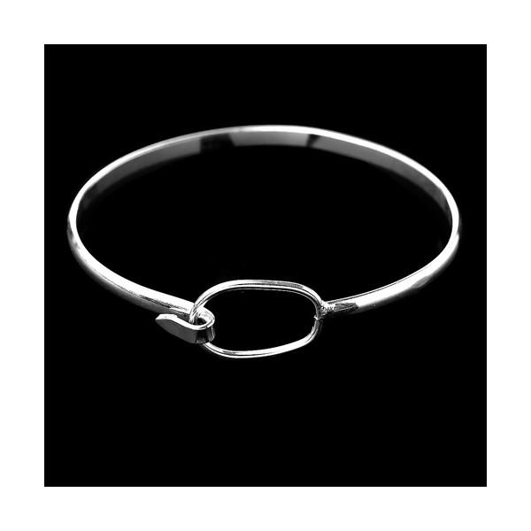 PS1170448 Lot 1 bracelet anneau rigide 60mm Laiton coloris ARGENT VIF - Photo n°1