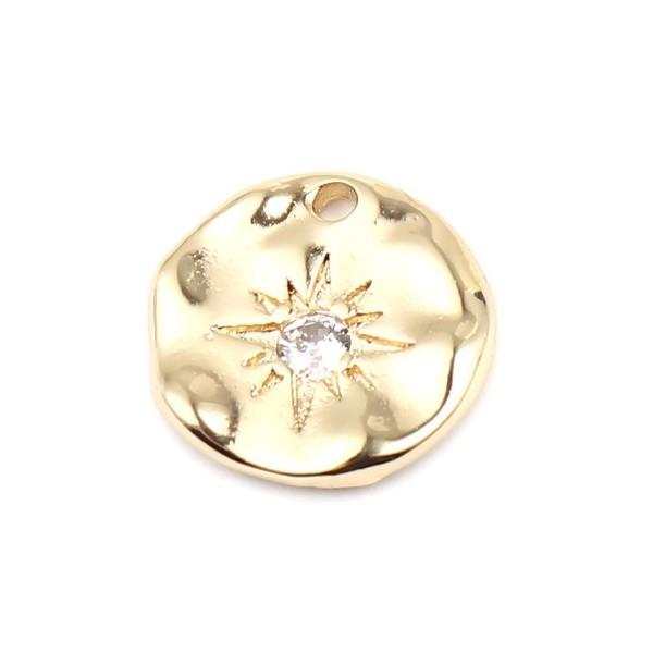 PS11664990 PAX 1 pendentif breloque medaillon 14mm avec Etoile, Astre Rhinestone Cuivre couleur OR - Photo n°1