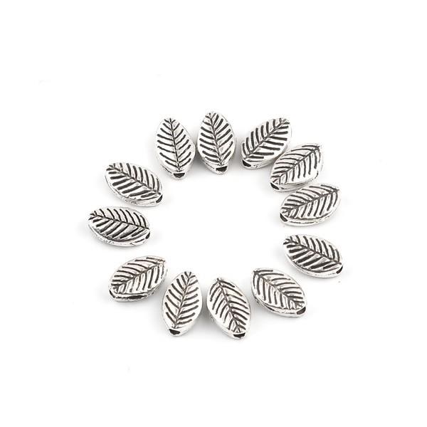 PS11690572 PAX 50 perles intercalaires Feuilles 9 par 6 mm metal couleur Argent Antique - Photo n°1