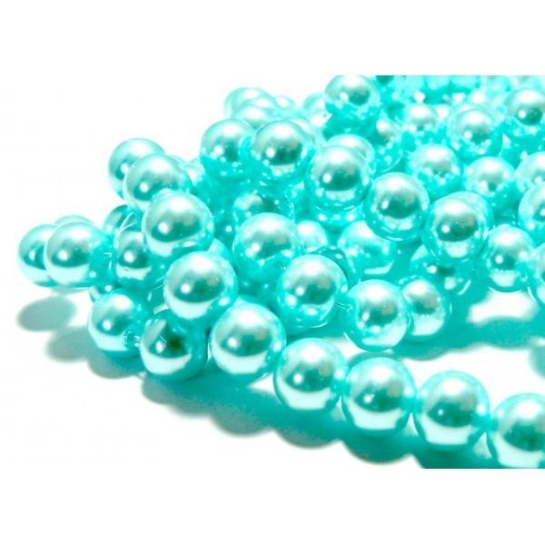 Lot de 1 fil d'environ 85 perles de verre nacre bleu ciel 10mm ref 12 - Photo n°1