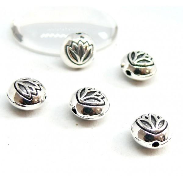BU11170926155645 PAX 20 perles intercalaires Fleur de Lotus 8 mm métal couleur Argent Antique - Photo n°1