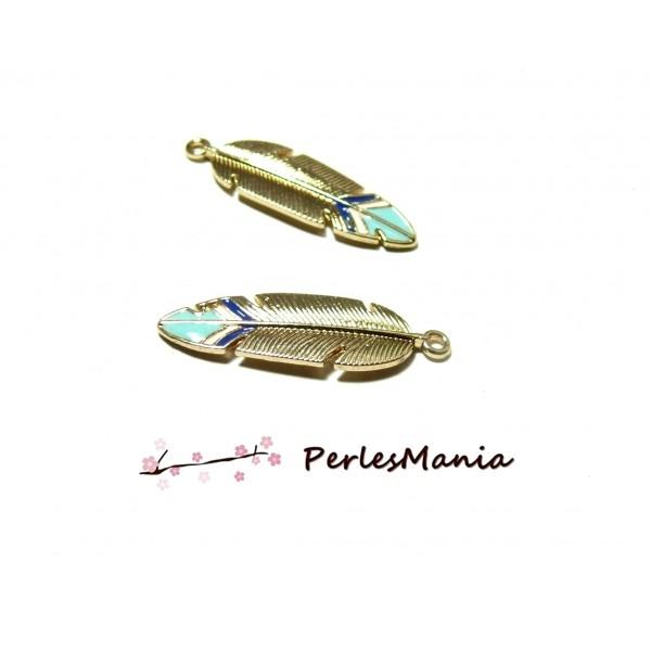 PS11100012 PAX 4 Magnifiques PLUMES dorées et style emaillées - Photo n°1