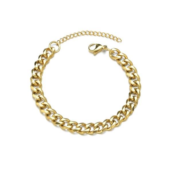 S11655591 PAX 1 Bracelet 18 cm maille 3mm en Acier Inoxydable 304 coloris Doré - Photo n°1