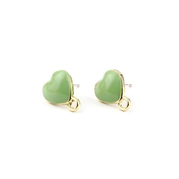 PS11696330 PAX 4 Boucles d'oreille clou puce Coeur avec attache émaillée Vert Pastel métal couleur - Photo n°1