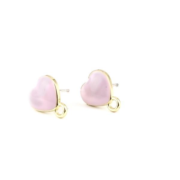PS11696328 PAX 4 Boucles d'oreille clou puce Coeur avec attache émaillée Rose Pastel métal couleur - Photo n°1