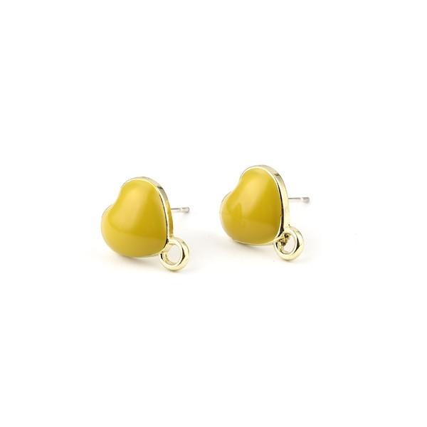 PS11696329 PAX 4 Boucles d'oreille clou puce Coeur avec attache émaillée Jaune métal couleur Doré - Photo n°1