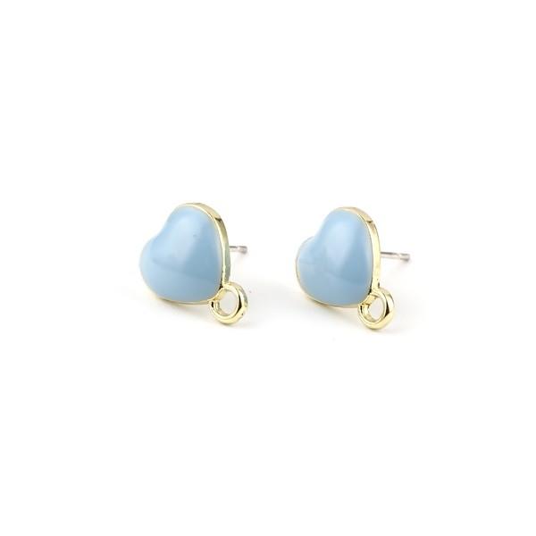 PS11696332 PAX 4 Boucles d'oreille clou puce Coeur avec attache émaillée Bleu Pastel métal couleur - Photo n°1