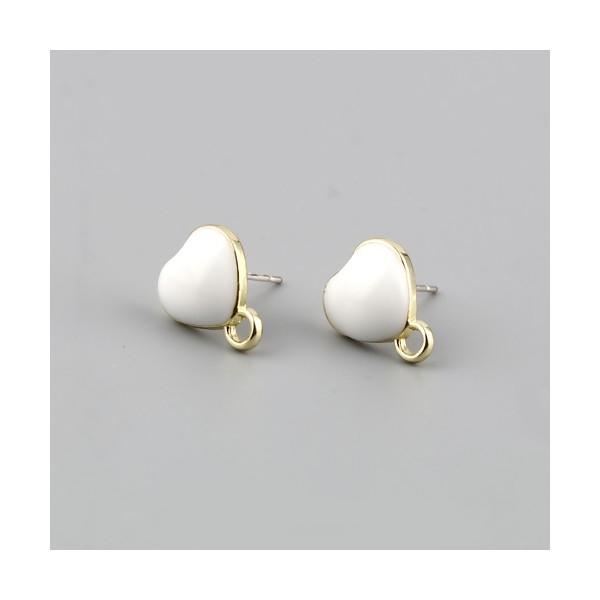 PS11696331 PAX 4 Boucles d'oreille clou puce Coeur avec attache émaillée Blanc métal couleur Doré - Photo n°1