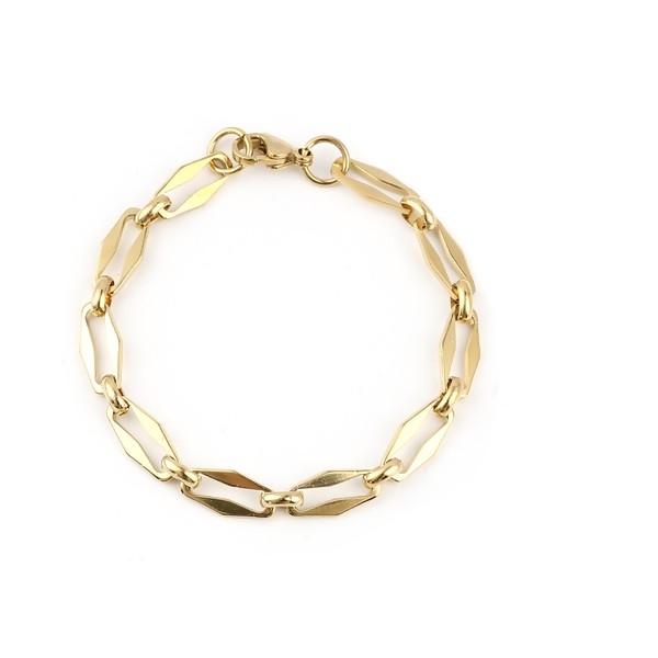 S11694503 PAX 1 Bracelet 19 cm grande maille 15 par 7mm en Acier Inoxydable 304 coloris Doré - Photo n°1
