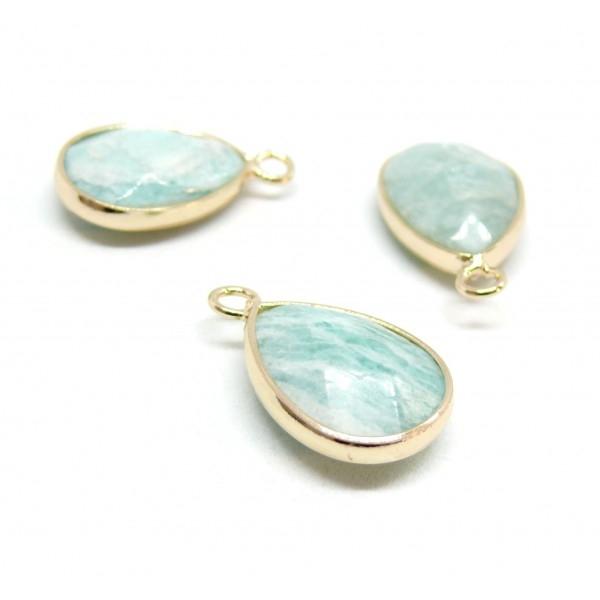 PS110205290 Pax 1 pendentif perle forme goutte 20 par 13 mm Amazonite sertie de métal Doré - Photo n°1